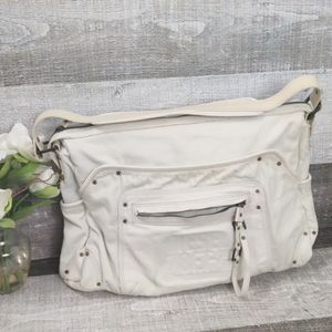 Diesel Large cream leather/canvas hobo bag